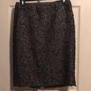 J Crew Black/Silver Glitter Wool Pencil Skirt